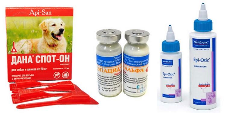 Средства от ушных клещей для собак