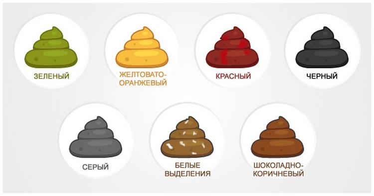 Варианты окрашивания кала